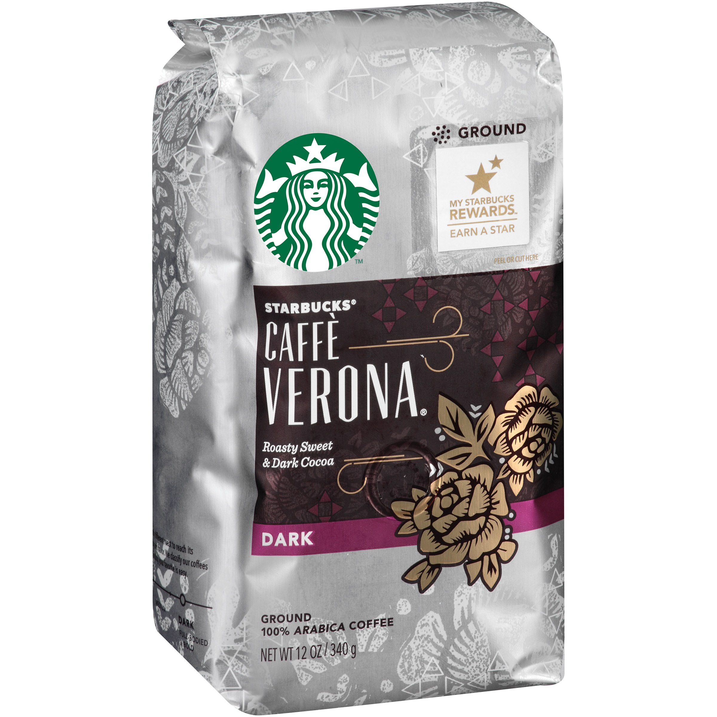 Starbucks 100% Arabica Coffee Caffe Verona Dark Ground, 12.0 OZ
