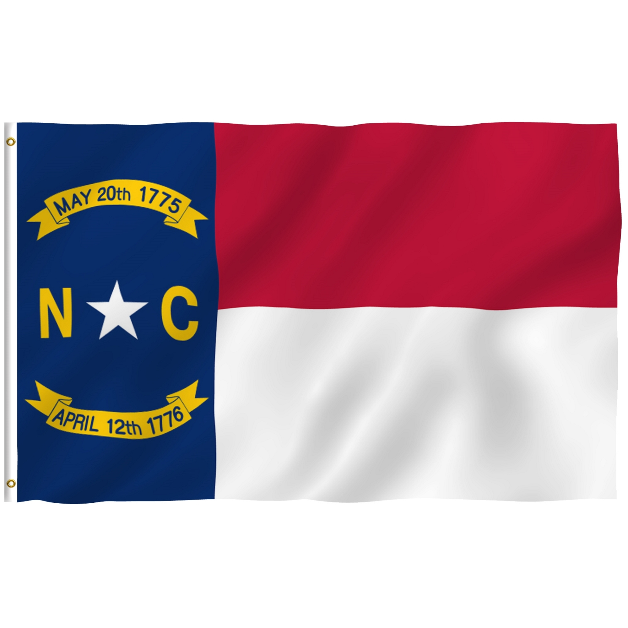 ANLEY [Fly Breeze] 3x5 Feet North Carolina State Flag - Vivid Color and UV Fade Resistant - Canvas Header and Brass Grommets - North Carolina NC Banner Flags