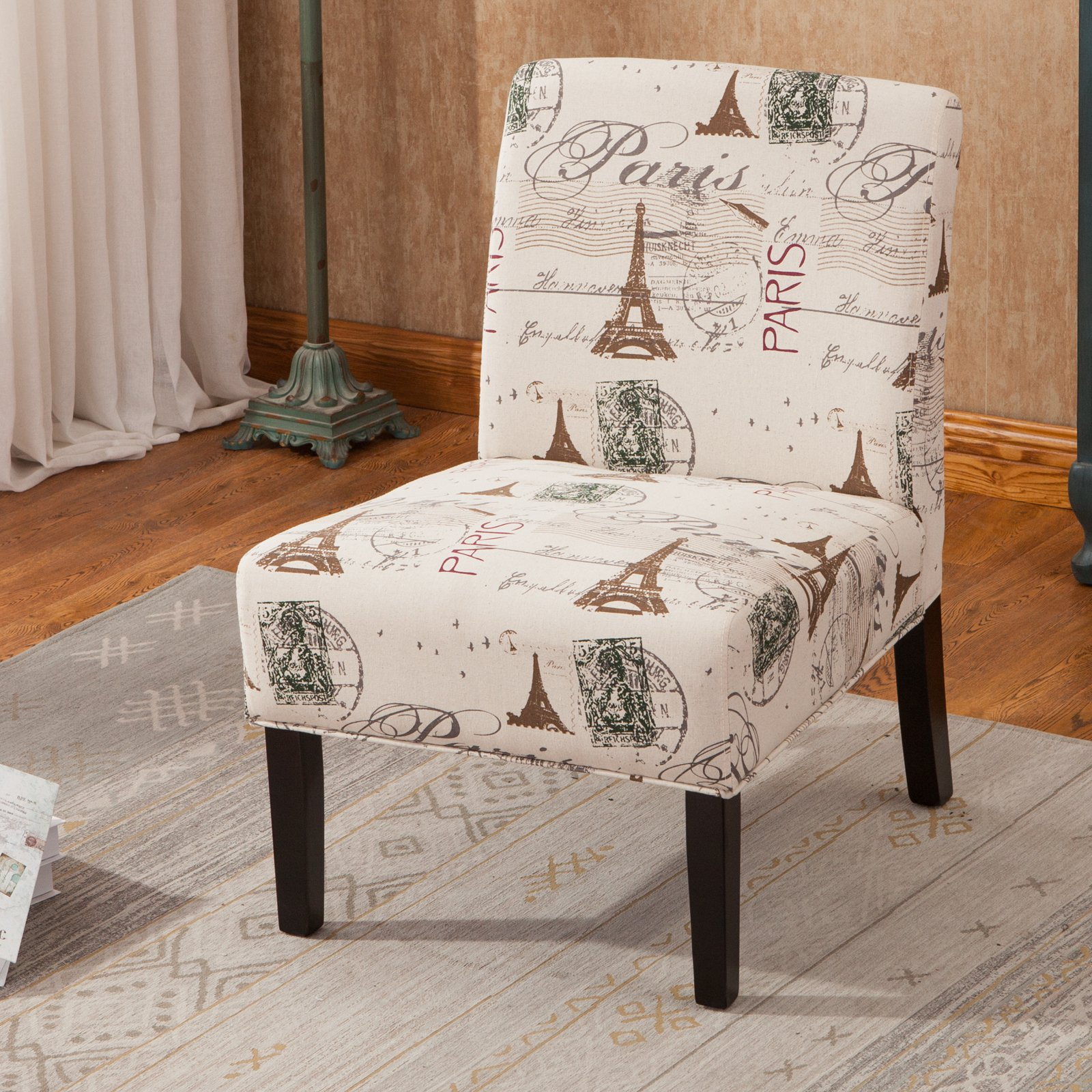 Roundhill Furniture Goodale Script Linen Print Fabric