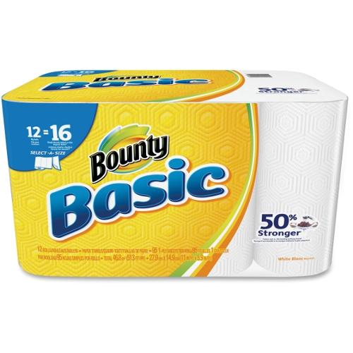 Bounty Basic Paper Towels - Towel - 12 / Pack - White