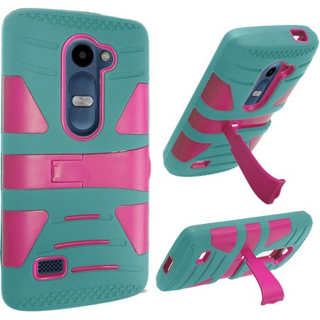 For Lg Tribute 2 Risio Leon C40 Power L22c Destiny L21g Sunset L33l Hybrid U Kickstand Case   Hot Pink Pc  Teal Silicone