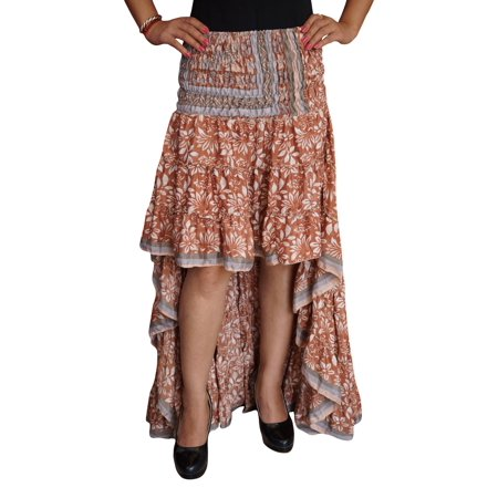 Mogul Womens Hi Low Skirt Printed Recycled Silk Sari Flare Tiered Ruffle Flirty Swing Asymmetrical Summer Style Peasant Skirts