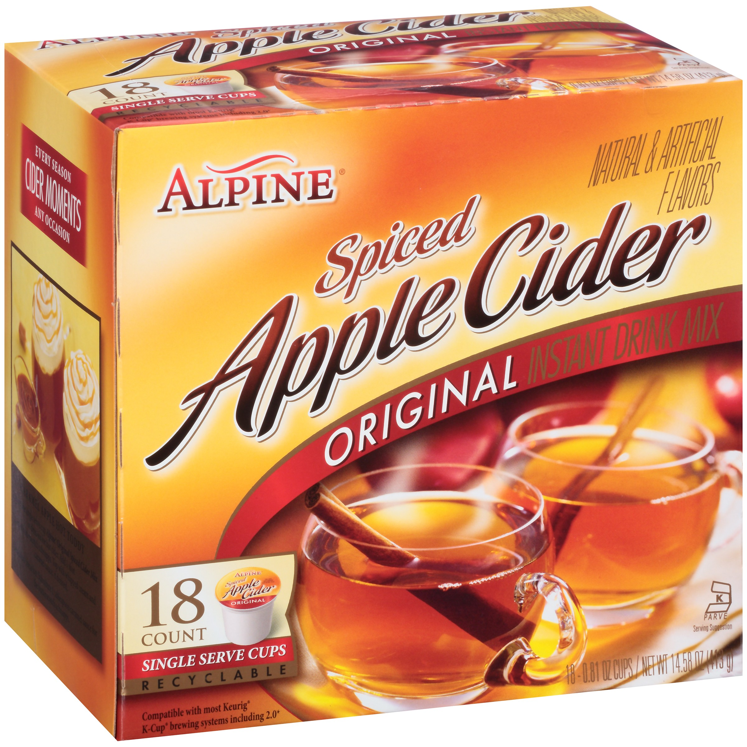 Alpine Drink Mix, Spiced Apple Cider, .81 Oz, 18 Packets Serve Cups