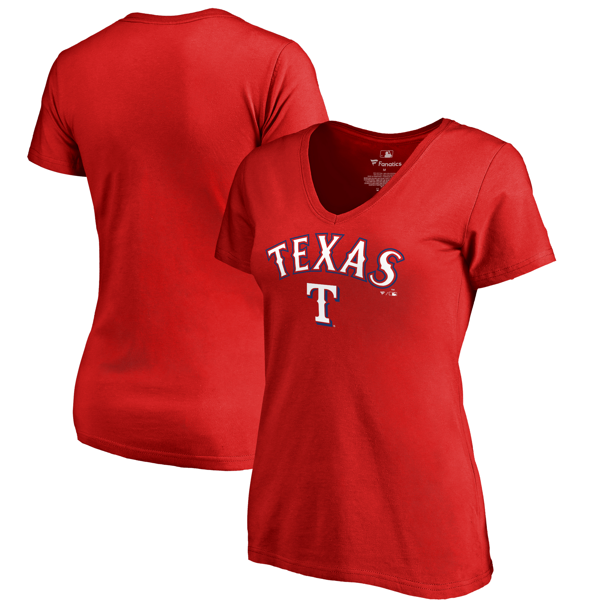 Texas Rangers Fanatics Branded Women's Plus Sizes Team Lockup T-Shirt - Red