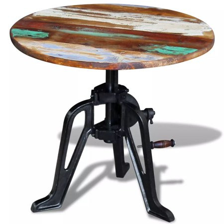 vidaXL Side Table Solid Reclaimed Wood Cast Iron 23.6