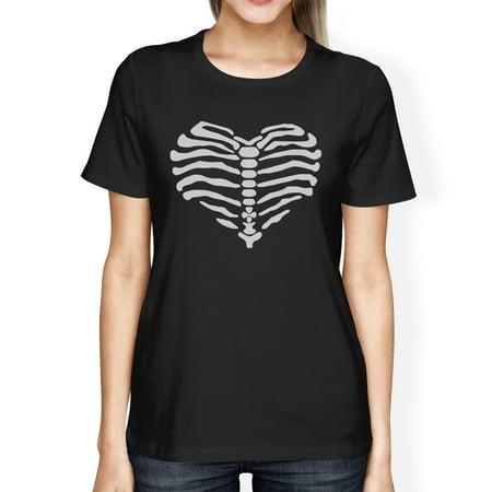 Skeleton Heart Cute Halloween Tshirt For Women Round Neck Cotton - Cute Halloween Shirts For Women