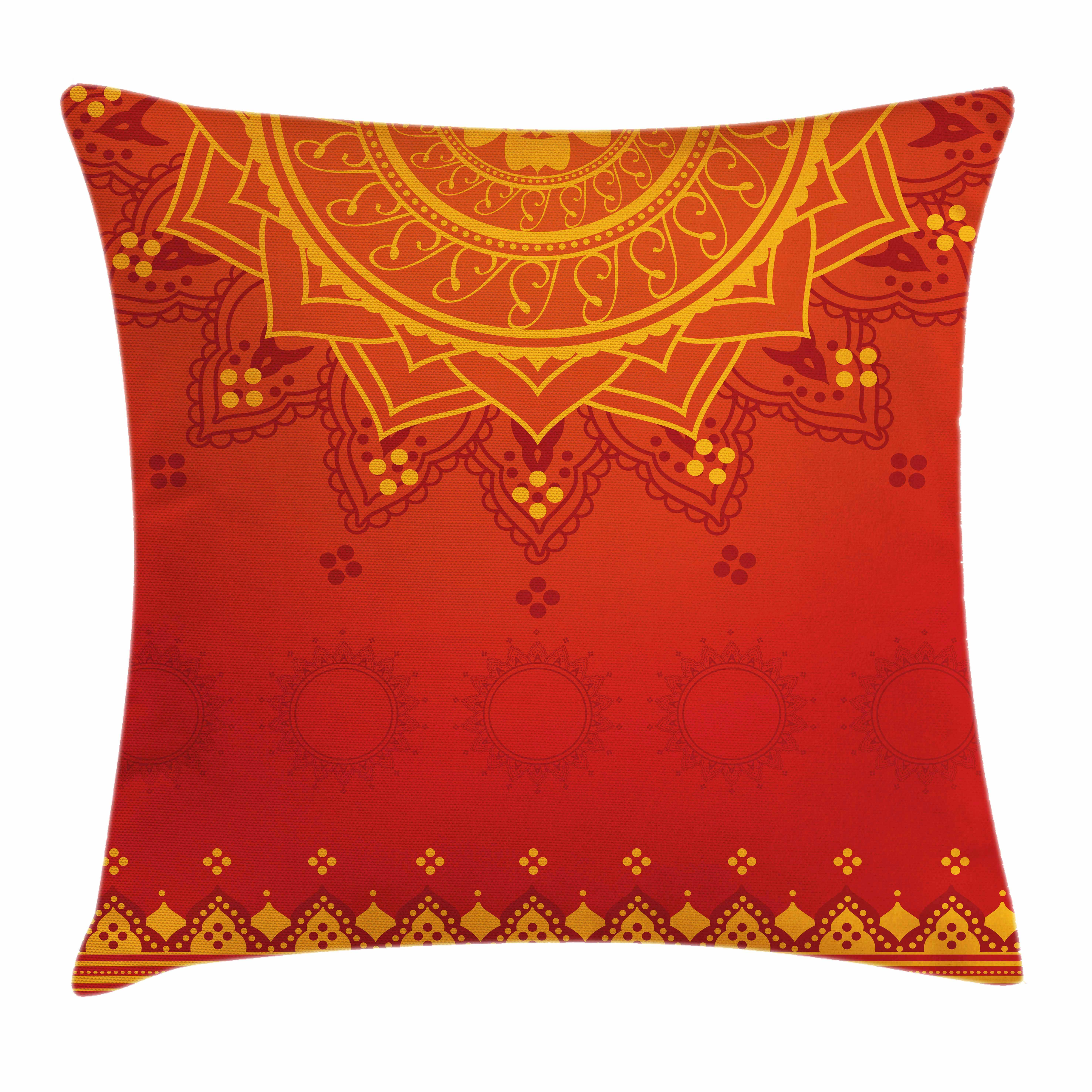Lotus Throw Pillow Cushion Cover, Arabesque Background with Moroccan Traditional Featured Symbolic Boho Effect, Decorative Square Accent Pillow Case, 16 X 16 Inches, Marigold Red Orange, by Ambesonne