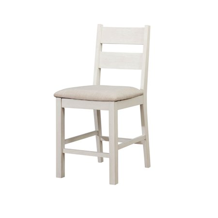 Wooden Ladder Back Counter Height Chair with Cushioned Fabric Seat, Pack of Two, White ()