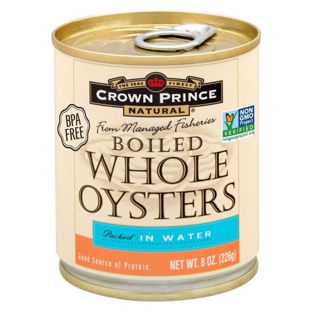 Crown Prince Natural, Boiled Whole Oysters, Packed In Water, 8 oz (pack of 4)