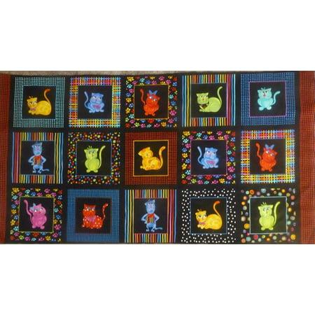 (Loralie 'Cool Cats' Panel on Black Cotton Fabric, 100 percent Premium Quilt Shop Quality Cotton fabric. By Loralie Designs)