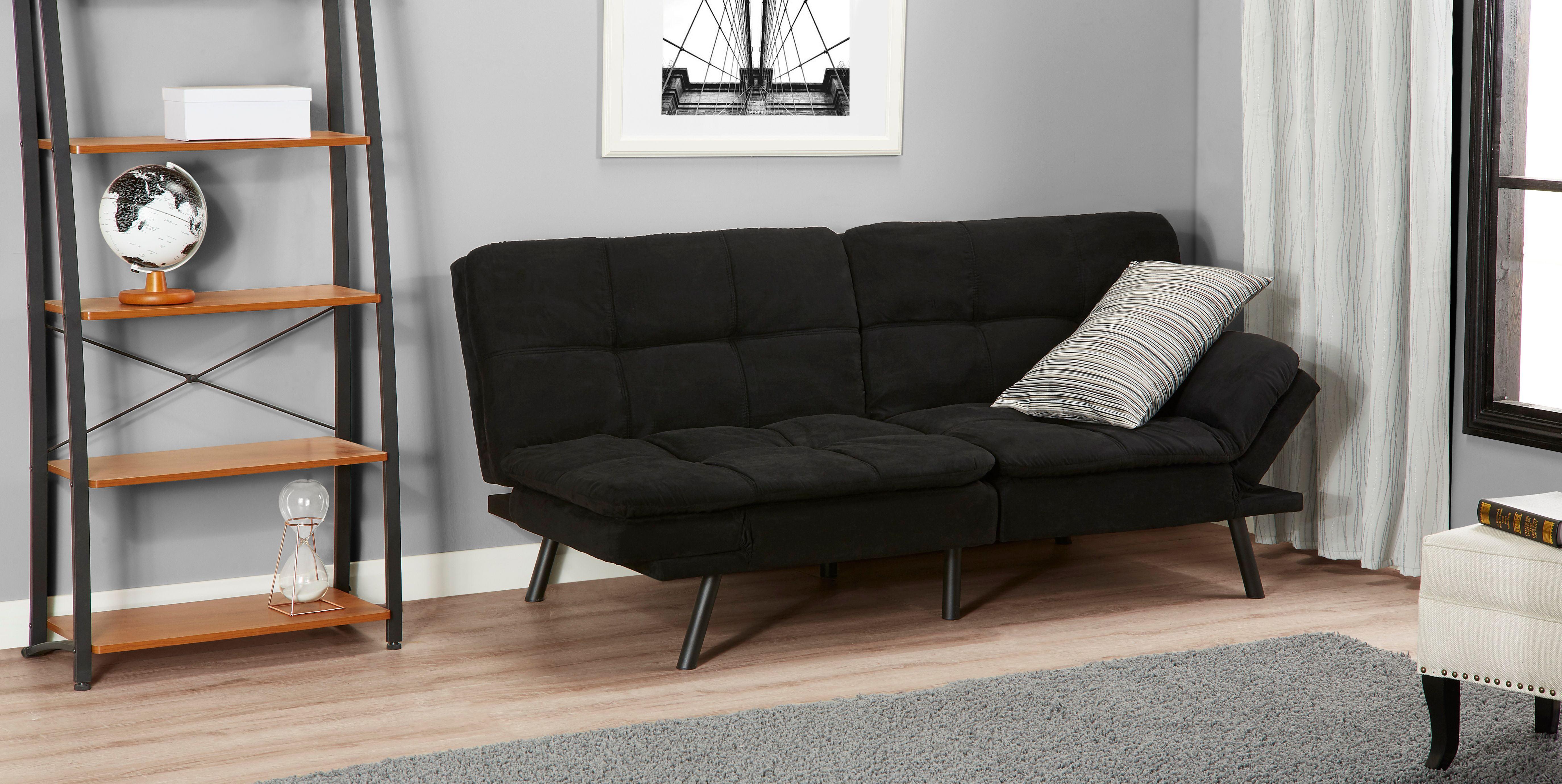 mainstays memory foam futon multiple finishes ebay. Black Bedroom Furniture Sets. Home Design Ideas