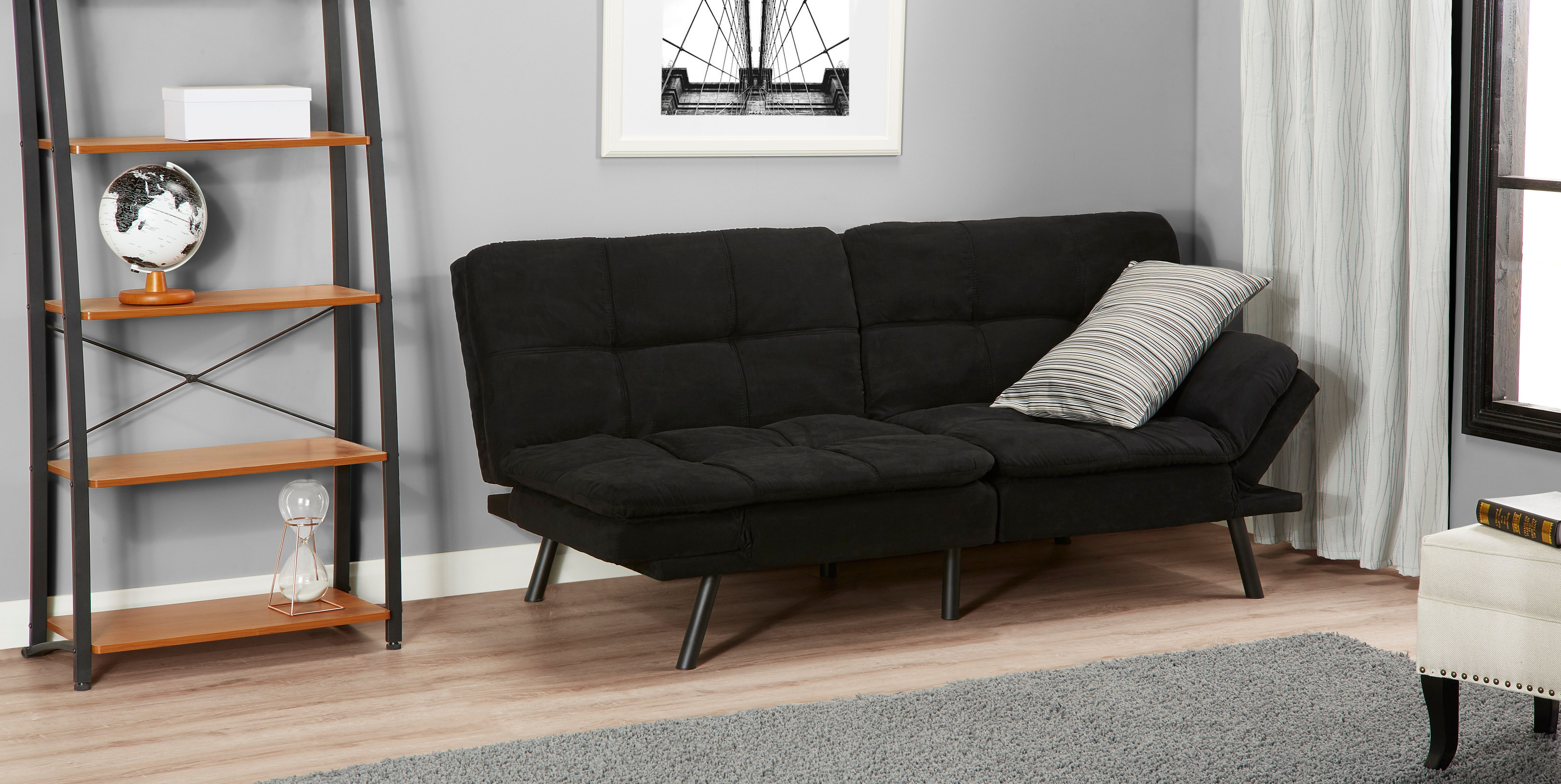 Black Faux Leather Sturdy Mainstay Convertible Double Duty Wooden Frame Split Seat and Foldable Bed in One Memory Foam Futon with Polyester Allergy Relief Pillow