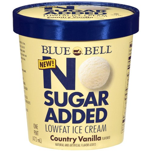 Blue Bell No Sugar Added Lowfat Country Vanilla Ice Cream, 1 pt