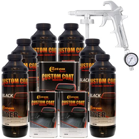 Bed Liner CUSTOM COAT BLACK 6-L Urethane Spray-On Truck Kit w/ FREE Spray Gun (Black Truck Bed Liner)