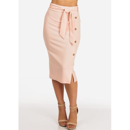 Womens Juniors Women's Junior Ladies Dressy Office Business Career Wear Light Pink Mauve Skirt With Front Button Detail And Tie Belt Skirt 10254X