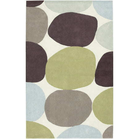 5' x 8' Mosaic Stones White, Brown and Green Hand Tufted Area Throw Rug