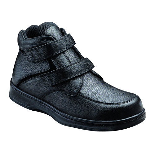 Orthofeet Glacier Gorge Mens Black Leather Orthopedic Strap Boots by Orthofeet