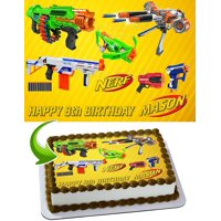 "Nerf Toys, Blaster Guns Edible Cake Image Topper Personalized Picture 1/4 Sheet (8""x10.5"")"