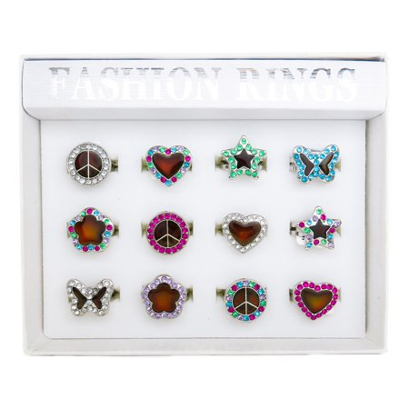 Frogsac 12 Pieces Mood Rhinestone Assorted Motifs Rings - Great Party - Mood Rings For Kids