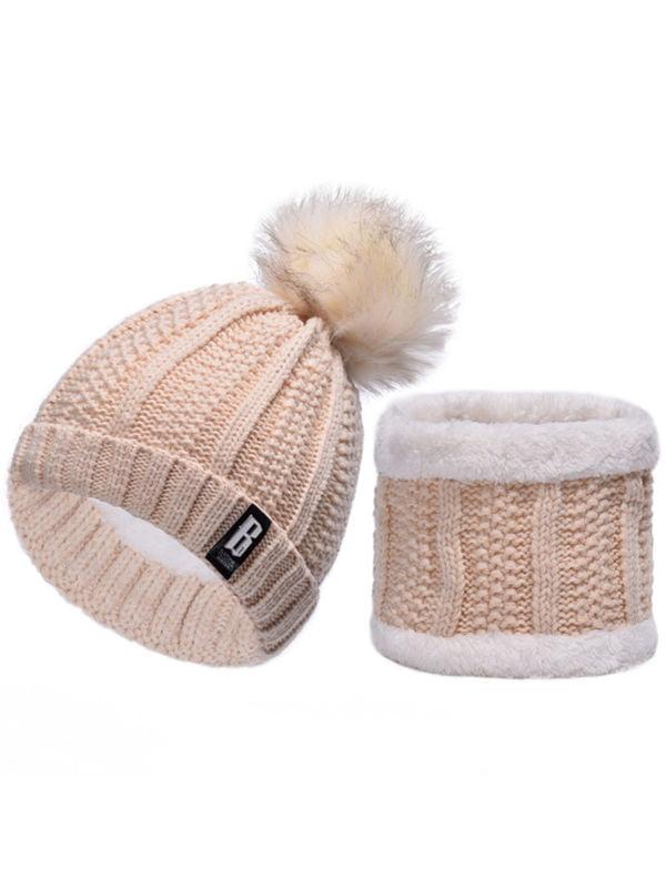 RXIN Winter Women Hats Knit Cap Scarf Cap Two-Piece for Fur Winter Beanie Fleece Hat Balaclava with Neckwa