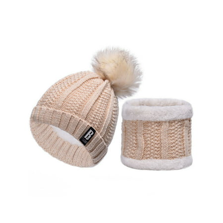 Women Fleece Fur Pom Neck Warmer Beanie Set Wool Crochet Knit Hat Bobble Ski Cap