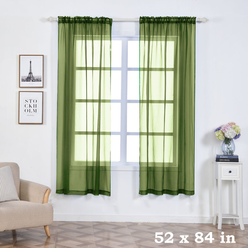 Efavormart 2 Panels Sheer Organza Window Drapery with Rod Pocket Window Treatment Curtain Panels For Window Decoration... by