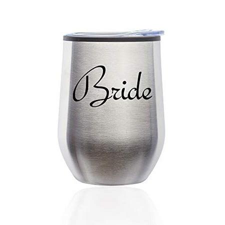 Stemless Wine Tumbler Coffee Travel Mug Glass with Lid Bride Bachelorette Wedding (Silver) - Bachelorette Tumblers