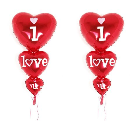 Festival Aluminum Film Heart Shaped I Love You Stacker Flat Balloon Red 2 PCS - Heart Shaped Balloon