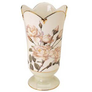The Smithsonian Collection 925013 White Rose Vase