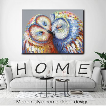 Kissed Owl Couple Stretched Canvas Print Picture Hang Wall Art Home Decor Gift No Frame