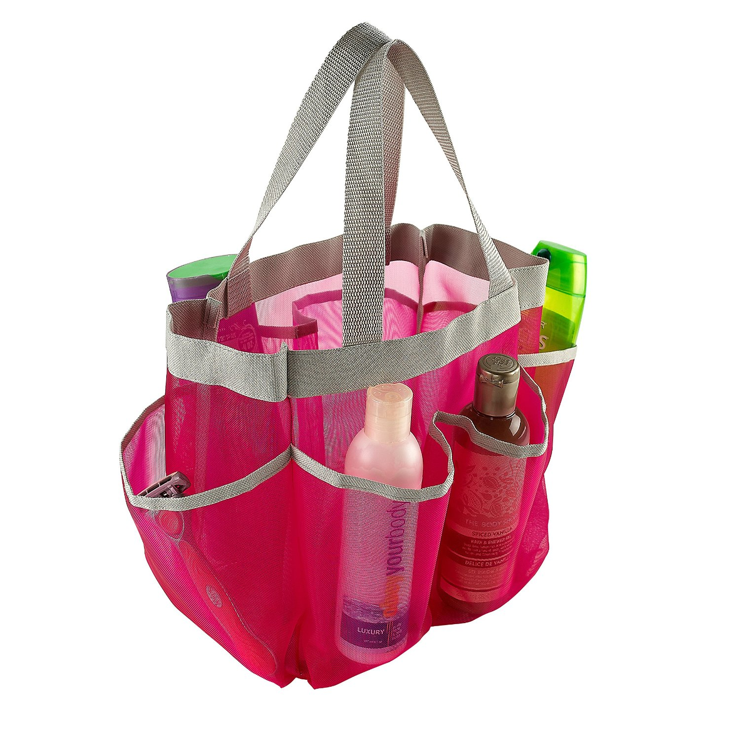 7 Pocket Shower Caddy Tote, Pink by