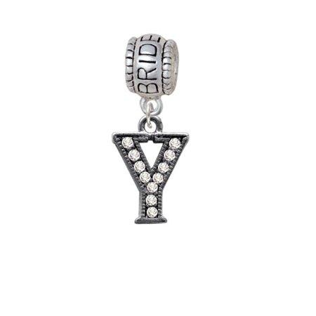 Crystal Black Initial - Y - Beaded Border - Bride Charm Bead