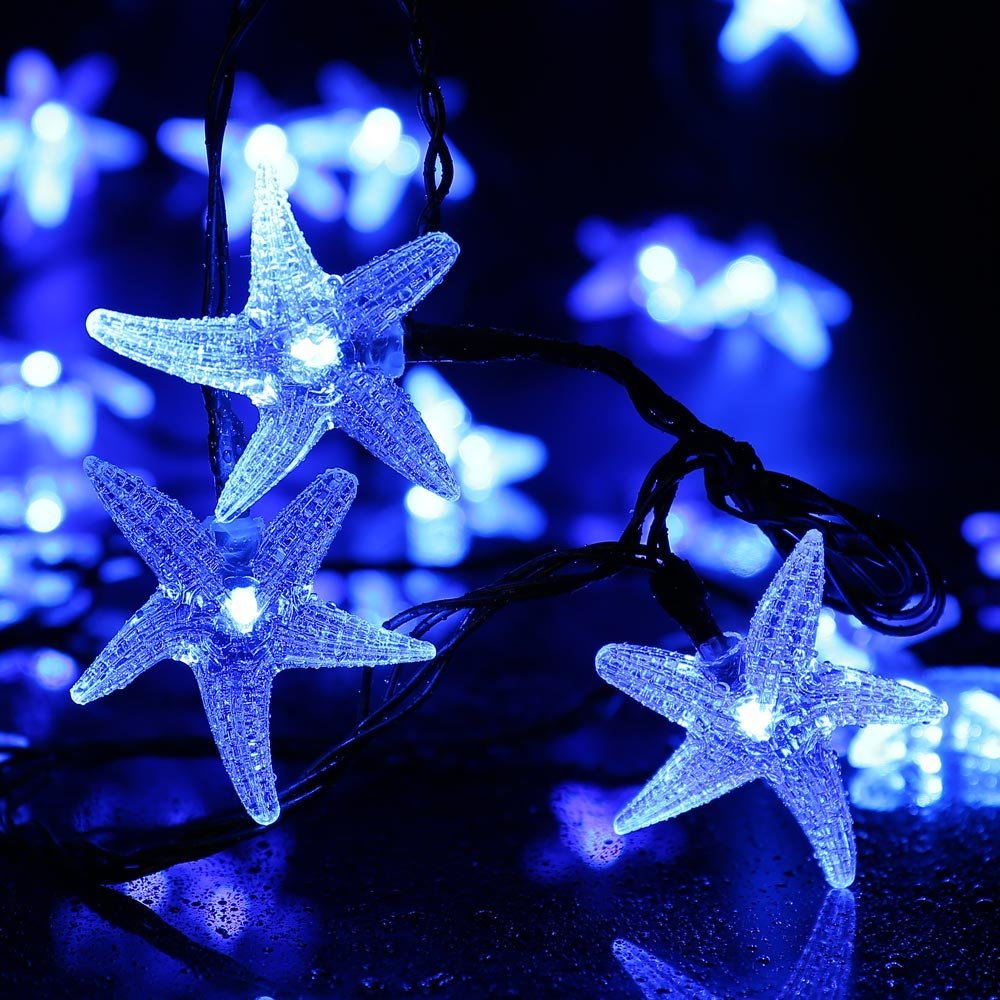 Qedertek LED Christmas LightsStarfish Solar String Lights 30 LED Decorative Lighting for Outdoor,Garden,Home,Wedding,Party and Holiday Decorations (Blue)