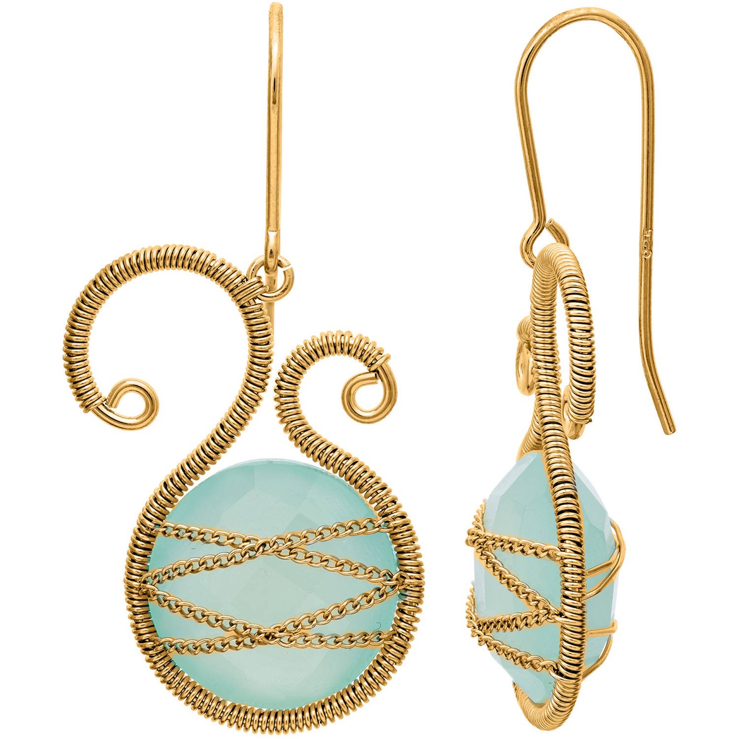 Image of 5th & Main 18kt Gold over Sterling Silver Hand-Wrapped Asymmetric Chalcedony Stone Earrings