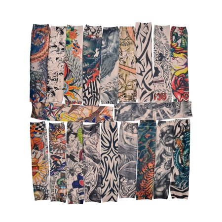 Bundle Monster 20pc Fake Temporary Tattoo Sleeves Body Art Arm Stockings Accessories - Designs Tribal, Dragon, Skull, and Etc.