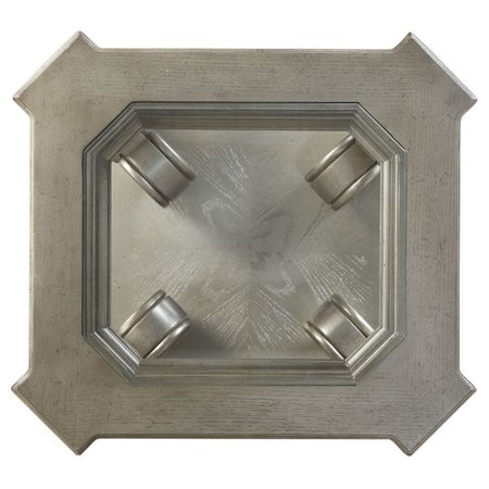 Acme Northville End Table in Antique Silver and Clear Glass