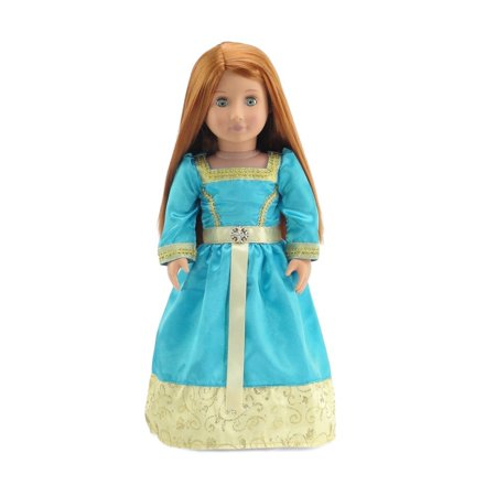 18 Inch Doll Clothes | Gorgeous Merida-Inspired Princess Ball Gown Outfit with Glittery Accents and Silky Ribbon | Fits American Girl Dolls - Princess Jasmine Inspired Outfit