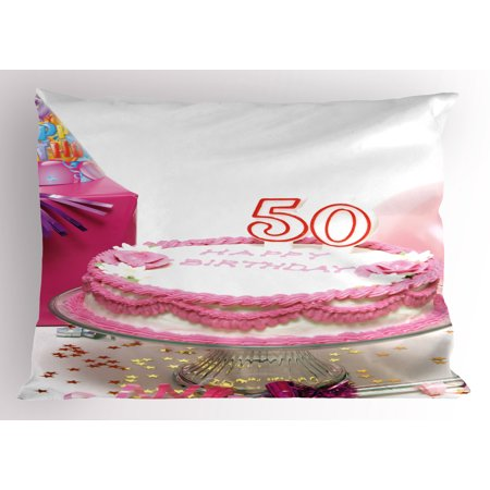 50th Birthday Pillow Sham Delicious Cake with Golden Color Stars and Party Hat Presents Special Day, Decorative Standard Queen Size Printed Pillowcase, 30 X 20 Inches, Multicolor, by Ambesonne