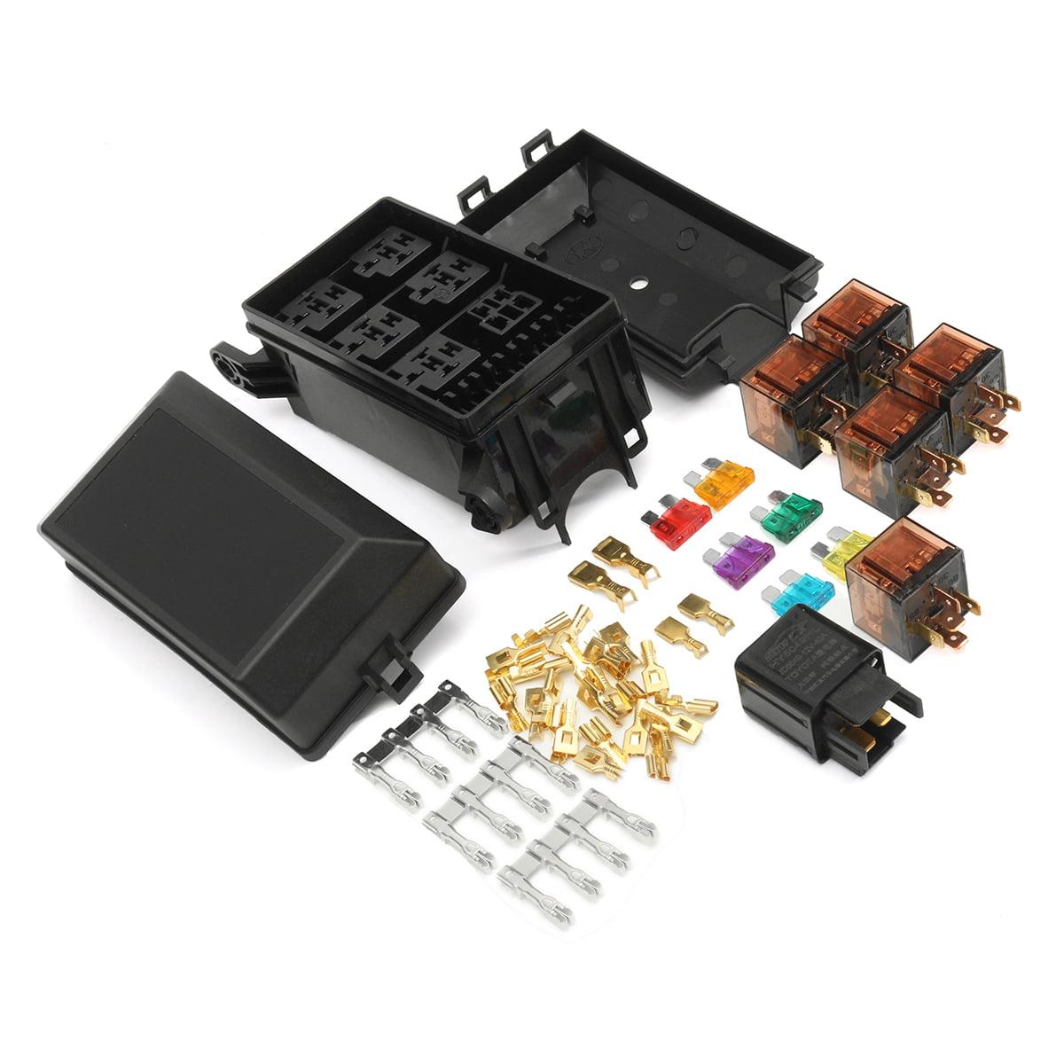 Car Audio  U0026 Video Installation Car Fuse Box 6 Relay Socket Holder 5road Insurance Holder 12v 80a