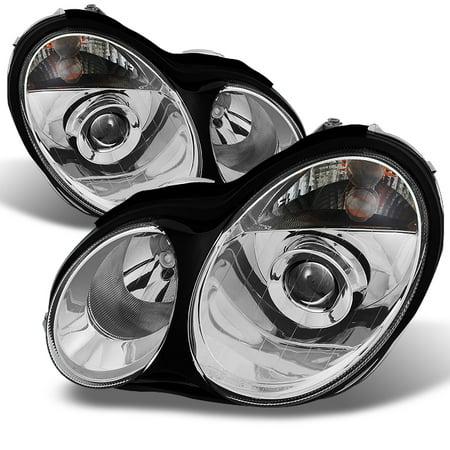 Fit 01-05 Benz W203 C-Class 4Dr Sedan Halogen Projector Headlights Replacement 4dr 1 Piece Projector