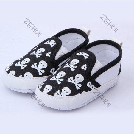 Black Infant Baby Boy Girl Toddler Shoes Kid Skull Soft Sole Anti-Slip Prewalker Shoes (Kids Skull Shoes)