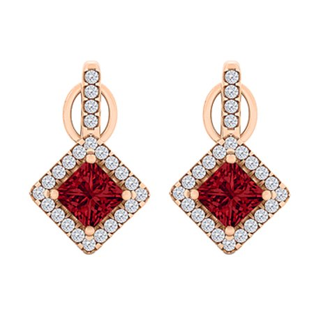 ee18a8192 Rhombus Design CZ Ruby Square Earrings 14K Gold Vermeil - image 1 of 2 ...