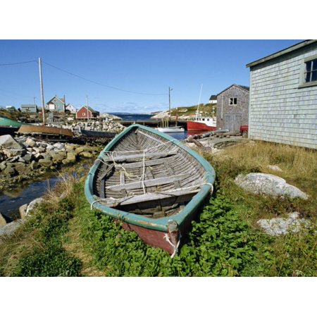 Small Boat on Land in the Lobster Fishing Community, Peggys Cove, Nova Scotia, Canada Print Wall Art By Ken Gillham