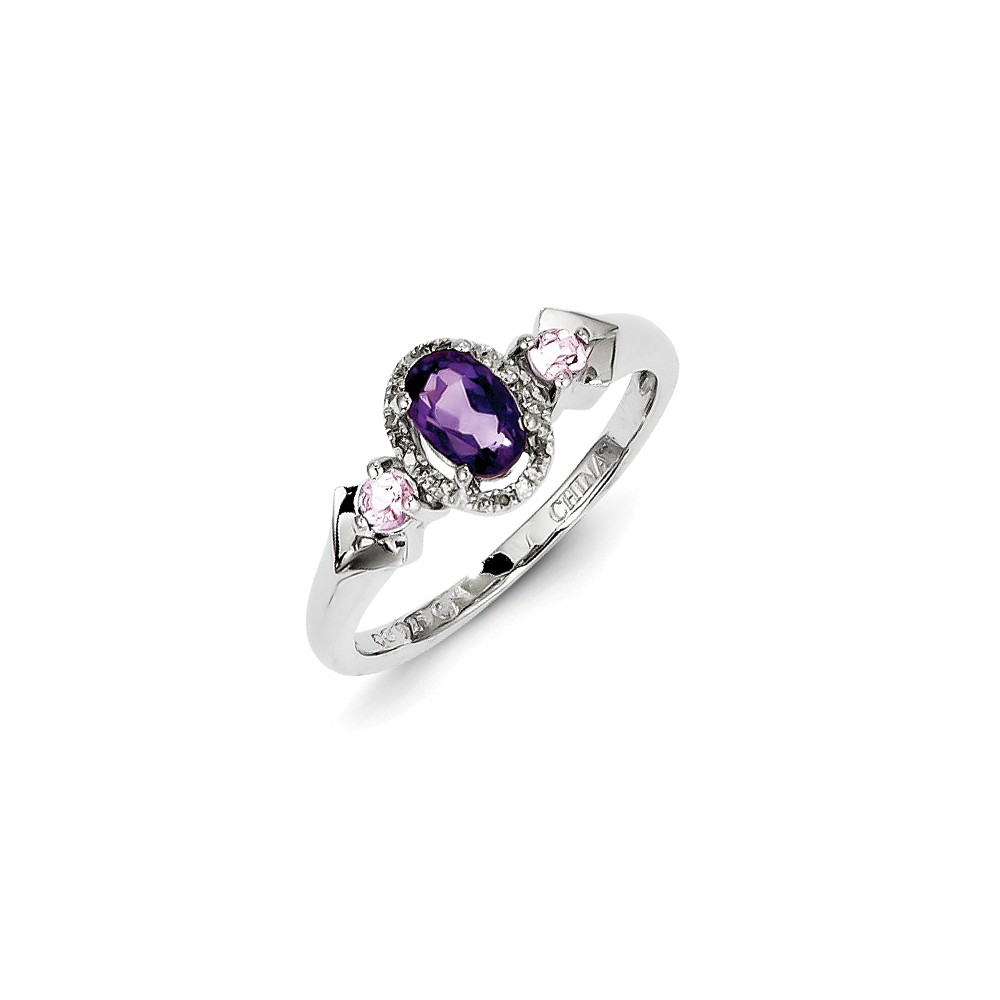 Sterling Silver Amethyst Pink Amethyst Diamond Ring by Goldia