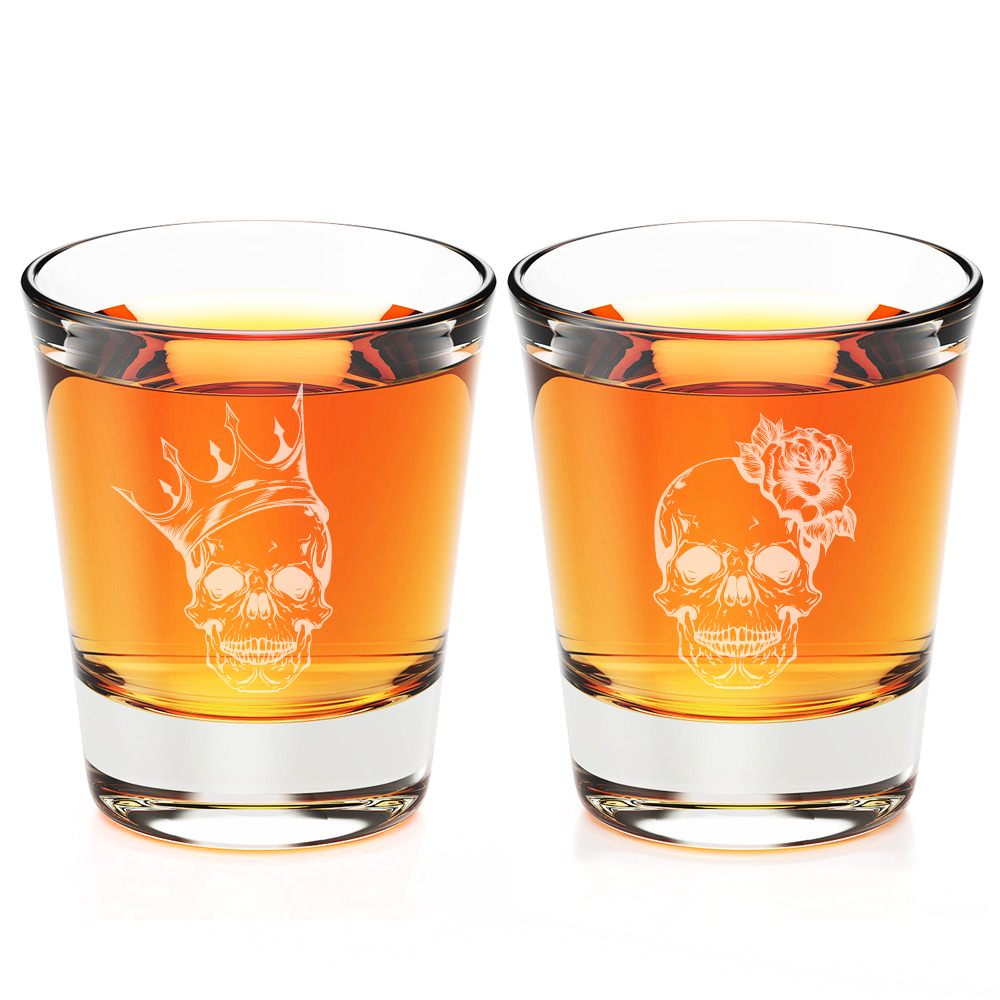 Skull King  and Skull Queen Engraved Fluted Shot Glass