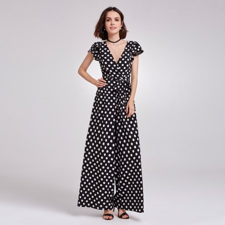 Alisa Pan Women's Vintage V Neck Polka Dot Printed Summer Casual Business Wide Legged Jumpsuit Party Dresses for Women - Vault Jumpsuit For Sale
