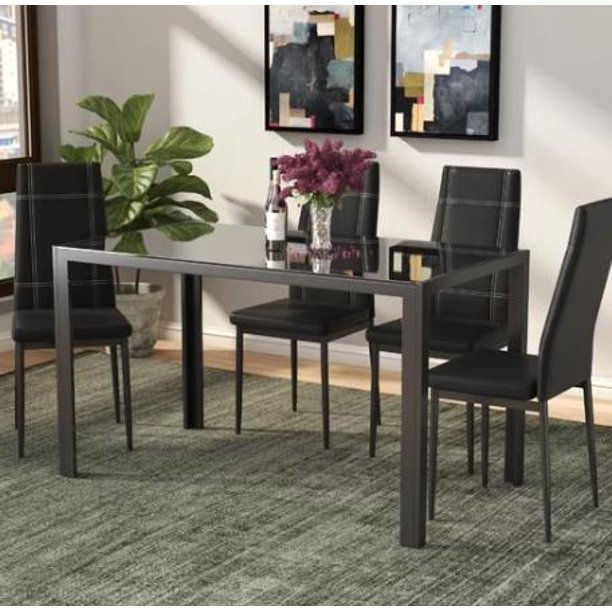 Piece Dining Table And Chair Set, Small Black Dining Table And 4 Chairs