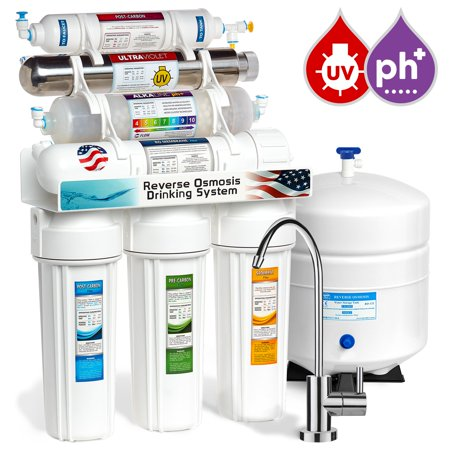 Express Water 11 Stage Home Drinking Filtration System Alkaline Ph  Uv Ultraviolet Sterilizer   Reverse Osmosis 100 Gpd Ro Membrane Filter Modern Faucet Residential Under Sink Purification Roalkuv10m
