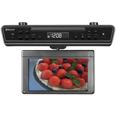 Sylvania 10 1  Under Cabinet Hdtv Dvd Combo With Hdmi Inputs  Bluetooth  Am Fm Tuner And Clock Timer