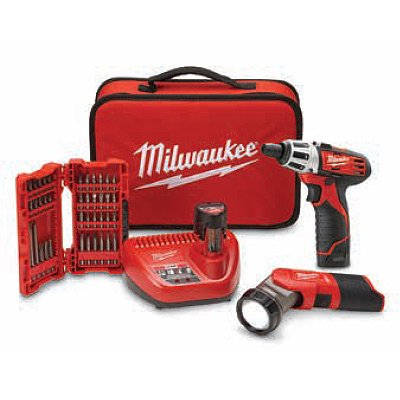 Milwaukee Electric Tools 2482-22 Milwaukee M12 Screwdriver W/ Led Worklight, 40-piece Bit Set, [2] 1.5ah Batteries And Bag